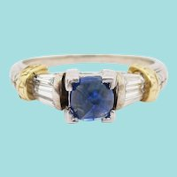 14 Karat White and Yellow Gold Diamond and Blue Sapphire Engagement Ring