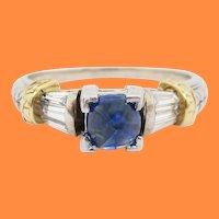 14 Karat White and Yellow Gold Diamond and Blue Sapphire Engagement Ring
