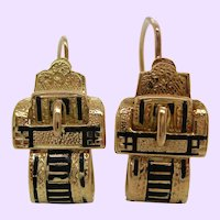 1880s Victorian Yellow Gold Filled Black Enamel Buckle Dangle Earrings