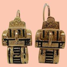 1880s Victorian Yellow Gold Filled Black Enamel Buckle Dangle Earrings