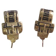 1880 Antique Victorian Black Enamel Buckle Earrings