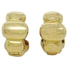 18 Karat Yellow Gold Huggie Hoop Earrings