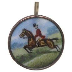 Edwardian Rose Gold Hand Painted Enamel Horse & Rider Earrings