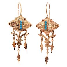 Victorian Rose Gold Enameled Earrings