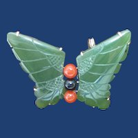Art Deco Jade, Coral, and Onyx Butterfly Pin in 14K Yellow Gold