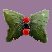 Art Deco 14K Yellow Gold Carved Green Jade Black Onyx Red Coral Butterfly Pin