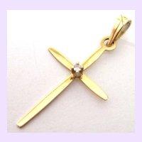 14K Gold Diamond Cross Pendant