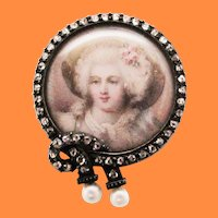 1850 Victorian Silver Over 14 Karat Yellow Gold Pearl and Diamond Portrait Pin