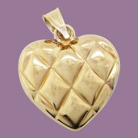 14 Karat Yellow and White Gold 2 Sided Quilted Heart Charm Pendant