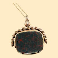 1890 Victorian 9K Yellow Gold Bloodstone and Carnelian Fob