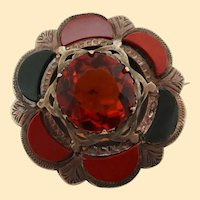 1890 Victorian Sterling Silver Bloodstone Agate and Paste Brooch
