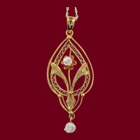 1890 Victorian 14 Karat Yellow Gold Diamond Natural Pearl Flower Drop Pendant