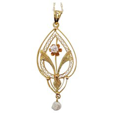 1890 Victorian 14 Karat Yellow Gold Diamond Natural Pearl Flower Drop Pendant