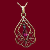 1910 Edwardian Austrian 14 Karat Gold Ruby Diamond Pendant