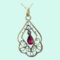 1910 Edwardian Austrian 14 Karat Gold Ruby Diamond Pendant