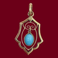 1910 Edwardian Austrian 14 Karat Yellow Gold Turquoise Moveable Pendant