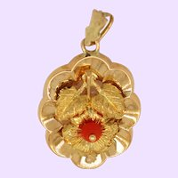 1890 Victorian 14K Two Tone Gold Coral Bead Flower Pendant