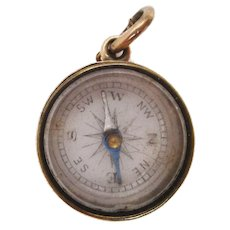 1880 Victorian 14 Karat Rose Gold Compass Watch Fob