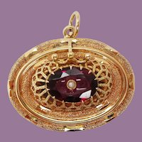 1880 Victorian 14 Karat Yellow Gold Red Garnet and Pearl Pendant
