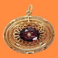 1880 Victorian 14 Karat Yellow Gold Red Garnet and Pearl Pendant