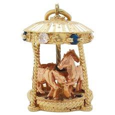 Midcentury 14 Karat Yellow Gold Sapphire Diamond Movable Carousel Pendant
