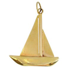Art Deco 14 Karat Yellow Gold Blue Lapis Sailboat Pendant