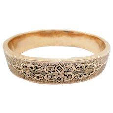 1880 Victorian 18 Karat Rose Gold Enameled Hinged Bangle