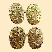 14K Yellow Gold Art Nouveau Larter & Sons Dogwood Cufflinks