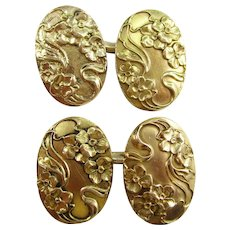 14K Yellow Gold Art Nouveau Larter & Sons Dogwood Cufflinks