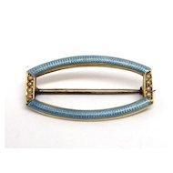 Art Deco 14K Gold Pearl & Blue Enamel Guilloche Pin Brooch