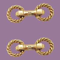 Midcentury 18 Karat Yellow Gold French Paris Cartier Rope Cufflinks