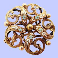 1890 Victorian Krementz Enamel 14 Karat Gold Watch Holder Pin