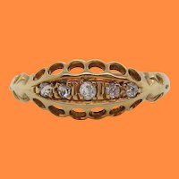 1910 Edwardian 18 Karat Yellow Gold 5 Diamond Band with Full English Hallmarks
