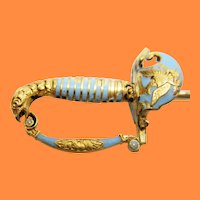 Victorian 18 Karat Yellow Gold Sky Blue Enamel Sword Hat Stick Pin