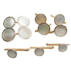 Art Deco 14 Karat Yellow Gold Mother of Pearl 9 Piece White Tie Dress Set
