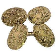 Larter & Sons Art Nouveau 14K Yellow Gold Cufflinks