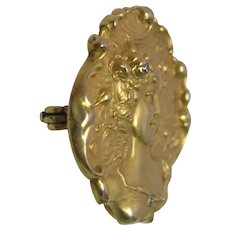 Art Nouveau Diamond Brooch & Watch Holder 14K Yellow Gold