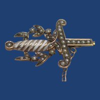 Victorian Seed Pearl & Enamel Sword Jabot Pin Rose Gold