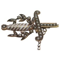 Victorian Seed Pearl & Enamel Sword Jabot Pin Rose Gold