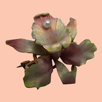 1900s Whiteside & Blank Original Art Nouveau Pearl Gold Orchid Brooch