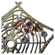 14 Karat Gold Spider on Web Necklace
