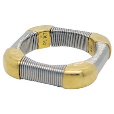 18K Yellow Gold and 750 Platinum Wire Wrapped Band