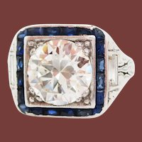 1920 Art Deco Platinum European Diamond Blue Sapphire Ring