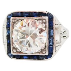 1920 Art Deco Platinum European Diamond Blue Sapphire Ring