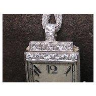 Diamond Art Deco Quartz Watch Platinum Large Dial