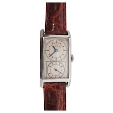 1920 Art Deco JE Caldwell Stainless Steel Doctor's Watch with Crocodile Strap