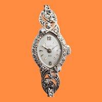 Midcentury 14 Karat White Gold Diamond Rope Bulova 23 Watch