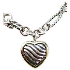 David Yurman 18 Karat Gold and Sterling Silver Heart Pendant Chain Necklace