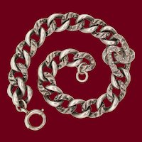 Victorian Hand Engraved Sterling Silver Chain Bracelet