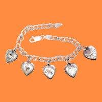 1940s Art Deco Sterling Silver Heart Charm Bracelet